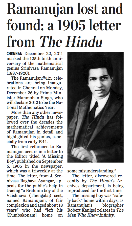 ramanujans poem Ak ramanujan (1929-1993) was, arguably, modern india's finest english-language poet at the time of his death he was professor of linguistics at the university of.